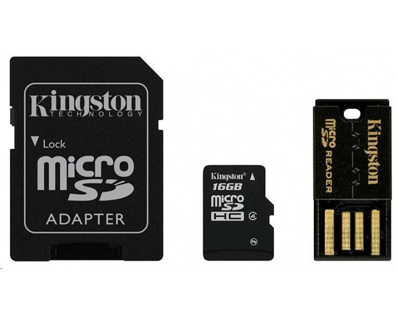 Kingston 16GB Multi Kit / Mobility Kit - MicroSDHC 16GB (Class 4) + čtečka + adaptér